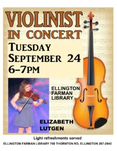 Violin Concert: Elizabeth Lutgen @ Ellington Farman Library