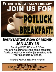 Potluck Breakfast cancelled in March @ Ellington Farman Library