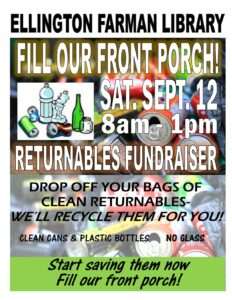 Returnable Fundraiser: Fill Our Porch! @ Ellington Farman Library