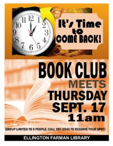 Adult Book Club- in person @ Ellington Farman Library