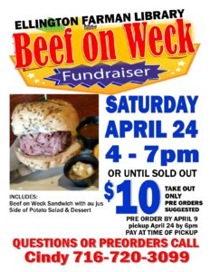 Beef on Weck Fundraiser @ Ellington Farman Library